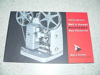 Original Bell & Howell Monterey 8mm Movie Projector Owner's Manual~EX Condition
