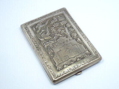 Antique Chinese Export Solid Silver Cigarette Case, Flowers & Birds Design