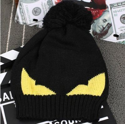 Boys Warm Beanie Crochet Hat With Yellow Eyes Fendi Look Alike Perfect for ages