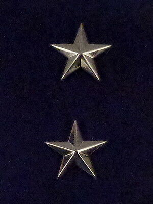 "1 star 3/4"" Polished Silver Pair Collar Pins Rank Insignia Police Chief/Deputy"