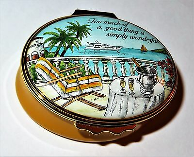 "Halcyon Days Enamel Box - ""too Much Of A Good Thing Is Wonderful"" - Ocean Scene"