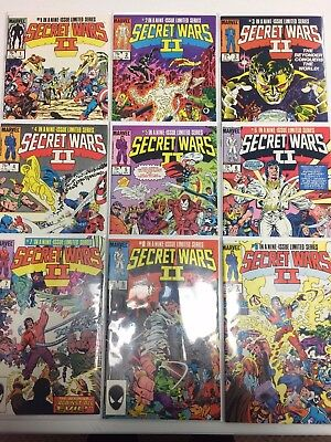 Secret Wars II #1 2 3 4 5 6 7 8 9 Complete Comic Book Set Marvel 1985
