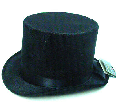 Men's Black Top Hat Velvet Velour stiff Fabric One size Large Unlined damaged