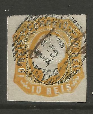 PORTUGAL 1862  10R ORANGE  LUIS 1  Mi No 13 USED (O)