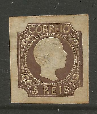 PORTUGAL 1856  5R BLACK-BROWN  PEDRO V (CURLY HAIR)  Mi No 9c MH*