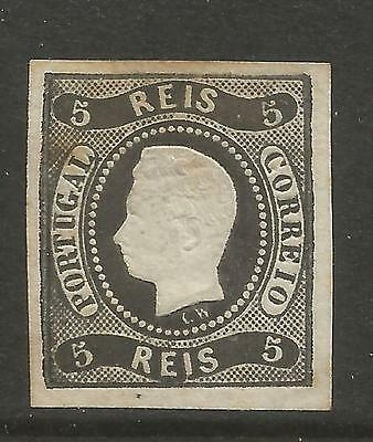 PORTUGAL 1866  5R BLACK  LUIS 1 (CURVED VALUE) IMPERFORATE  Mi No 17 MNG (*)