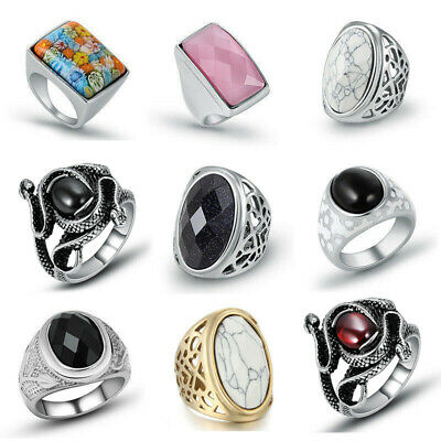 316L Stainless Steel Top Fashion Women Ladies Natural Stone Finger Rings Jewelry