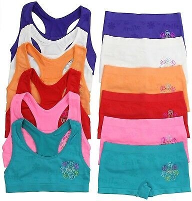 ToBeInStyle Girls' Pack of 6 Set of Matching Bras & Boyshorts