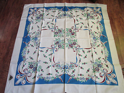 "Vtg NWT Hand Printed Cotton Floral Tablelcoth 48x50"" LOVLEY"