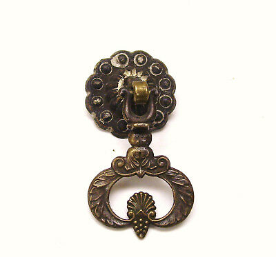 Vintage Brass Drawer Drop Pull Handle Scalloped Backplate Antique Hardware