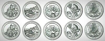 "2012 USA National State Park ""America the Beautiful'"" P&D 10 Coin Set!!"
