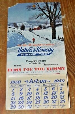 1950 Cooper's Store Natures Remedy NR Tonight Tomorrow Alright  Calendar