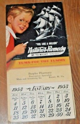 1953 Peoples Pharmacy Natures Remedy Tums For the Tummy Calendar