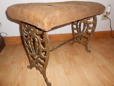 Antique Art Deco Nouveau Cast Iron Radio Vanity Bench Polychrome Table Base