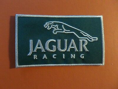 JAGUAR RACING  green & white Embroidered 2-5/8 x 4-5/8 Iron On Patch