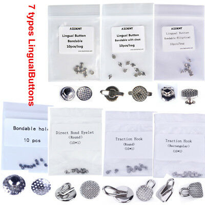 AZDENT Dental Orthodontic Lingual Buttons Bondable Round Base Direct Eyelets