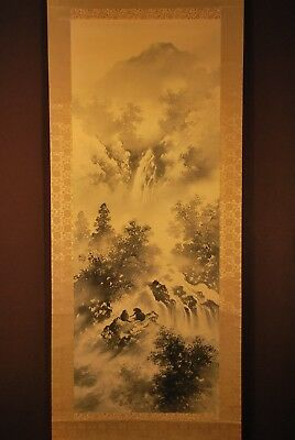 "Vintage ""Fun"" Japanese Signed  Scenic Sumie Painting Scroll with Monkeys"