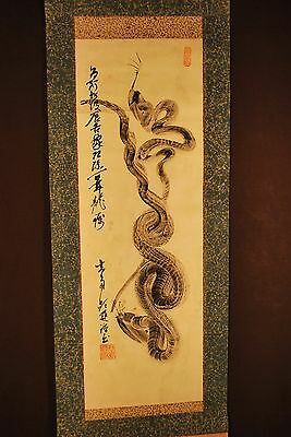 Hand Painted Stylized Japanese Dragon / Snake Scroll