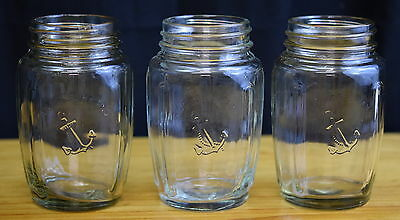 3 Anchor Brand Vintage Jars with embossed Logo & Anchor on Glass with metal Lids