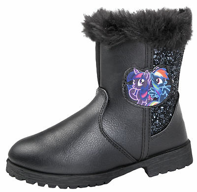 Girls My Little Pony Boots Warm Winter Fur Cuff Glitter Ankle Boots MLP Shoes