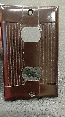 1 Brown Vtg Bakelite Ribbed Deco Single Gang Despard Tuxedo Cover Plate 2 Switch