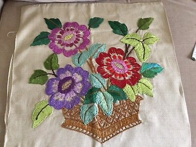 Vintage embroidered cushion cover - basket of flowers - strong colours