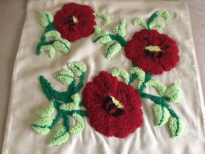 Vintage embroidered cushion cover - punched decoration of stylised poppies and l