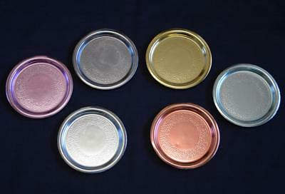 Retro Set of 6 Vintage Harlequin Anodised Round Coasters - Dimpled - Barware
