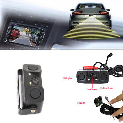 New Car Reverse Backup Parking Radar View Rear Camera With Parking Sensor 3-in-1