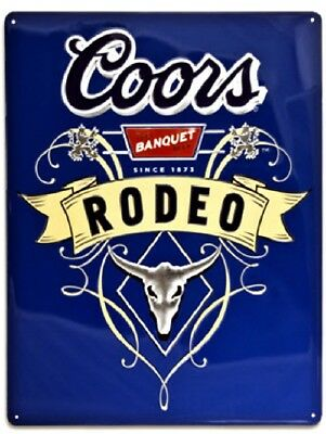 "New Ande Rooney Coors Rodeo Embossed Tin Sign 13"" x 17"" Free Shipping 2050031"