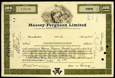 Stock Certificate Massey Ferguson Limited Canada 100 Shares Common Green