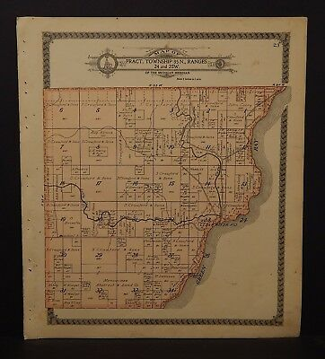 Michigan Menominee County Map Cedarville Township Dbl Side 1912 K17#81