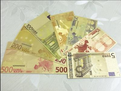 Coloured Note Europe €5 - €500 Euro Banknote Gold Foil Money