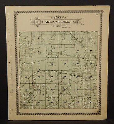 Michigan Menominee County Map Harris Township Dbl Side 1912 K17#82