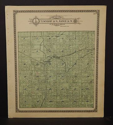 Michigan Menominee County Map Spalding Township Dbl Side 1912 K17#86