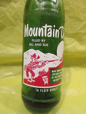 Mountain Mtn Dew Filled By Bill And Sue 1965 Glass Bottle Retro By Pepsi Cola
