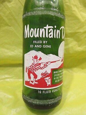 Mountain Mtn Dew Filled By Ed And Gene 1965 Glass Bottle Retro By Pepsi Cola