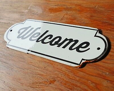 Metal Vintage Antique Porcelain WELCOME Open Enter Entrance Door Sign Plaque