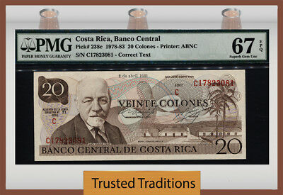 TT PK 238c 1978-83 COSTA RICA 20 COLONES PMG 67 EPQ SUPERB POP THREE NONE FINER!