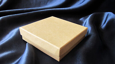 Natural Kraft jewelry gift box...3.5 x 3.5 x 1...cotton filled...recycle