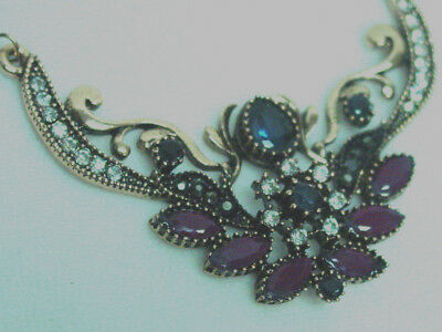 Turkish necklace Gift Boxed Victorian Vintage Antique Style Burgundy Blue stones