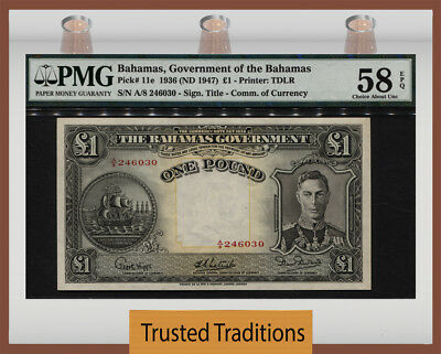 "TT PK 11e 1936 BAHAMAS 1 POUND ""KING GEORGE VI"" PMG 58 EPQ CHOICE ABOUT UNC"