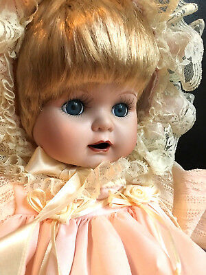 "20"" Adorable Seymour Mann Porcelain Baby Girl Doll BABY PATTI Sucks Thumb Blonde"