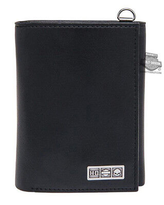 Harley-Davidson Mens Willie G Skull B&S Black Leather Trifold Wallet by LODIS