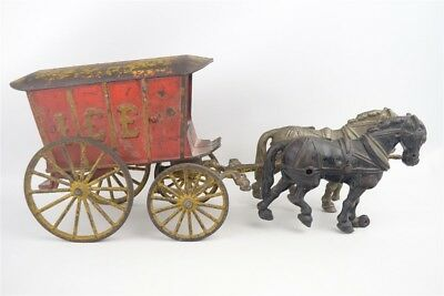 "Antique Large Early Hubley #75 Cast Iron 2-Horse Ice Wagon 16.5"" Red/Yellow"