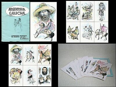 Set of 12 ORIGINAL GAUCHO LITHOGRPHS by Argentine Master JUAN LAMELA (1906-1989)