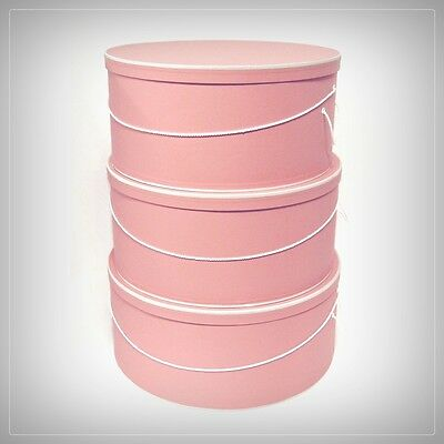 "SUPERSIZE ~20""~ 22""~ 24"" x 8""-9"" ~ Antique Rose Millinery HATBOXES ~ Stack of 3"