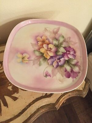 Antique Victorian Pansies Hand Painted Large Lavender Dresser Tray