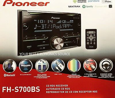 NEW Pioneer FH-S700BS Double-DIN Car Audio Stereo w/ Bluetooth, SiriusXM Ready