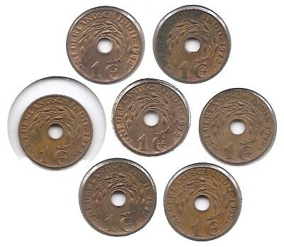 WWII Era Netherlands East Indies Lot of 7 US Minted 1942 P 1 Cent Higher Grade
